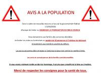 AVIS A LA POPULATION des mesures prises en vue de freiner la propagation du coronavirus