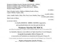 Madame Martha DE BOCK