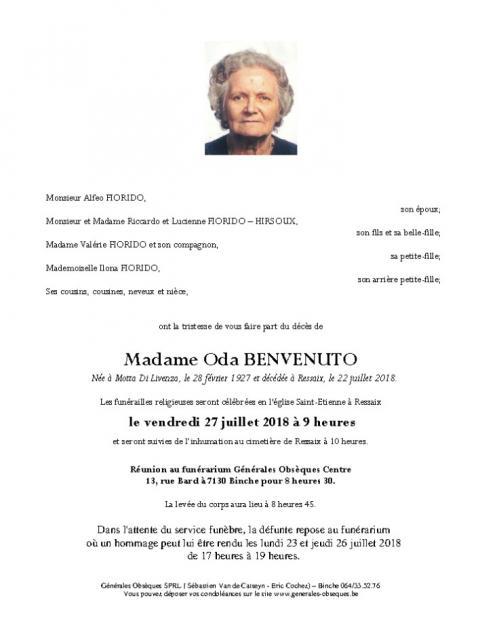BENVENUTO Oda